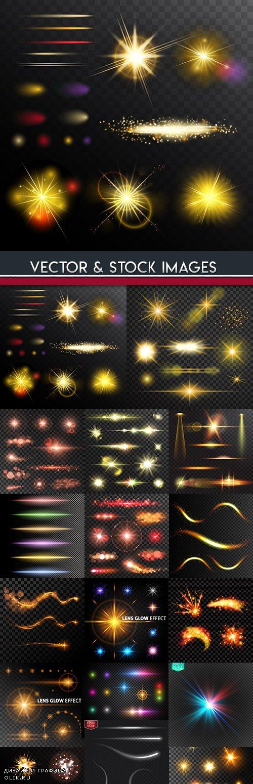 Light effects sparkling elements dark background 17