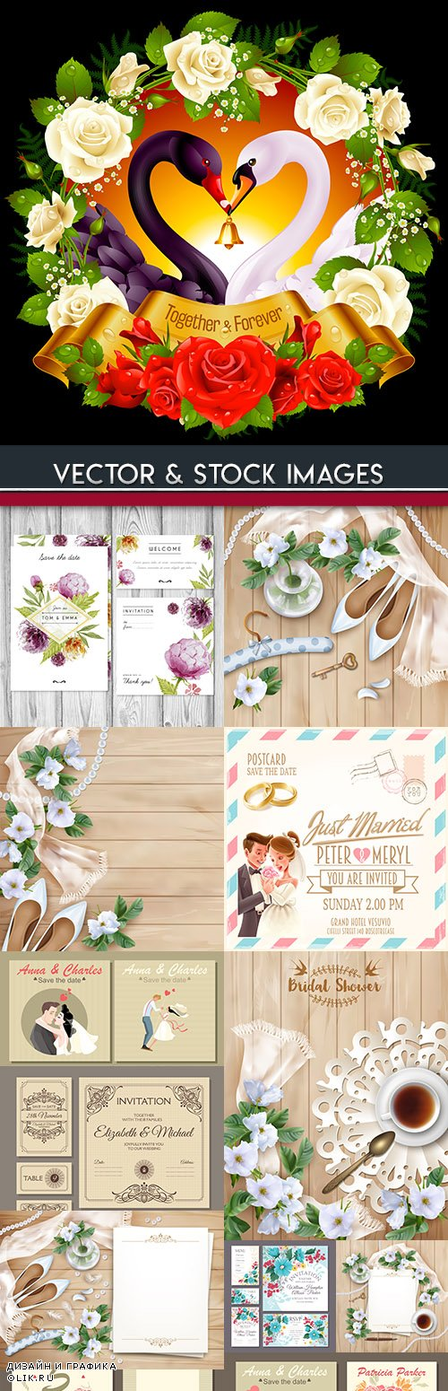 Wedding decorative invitations with flowers and elements