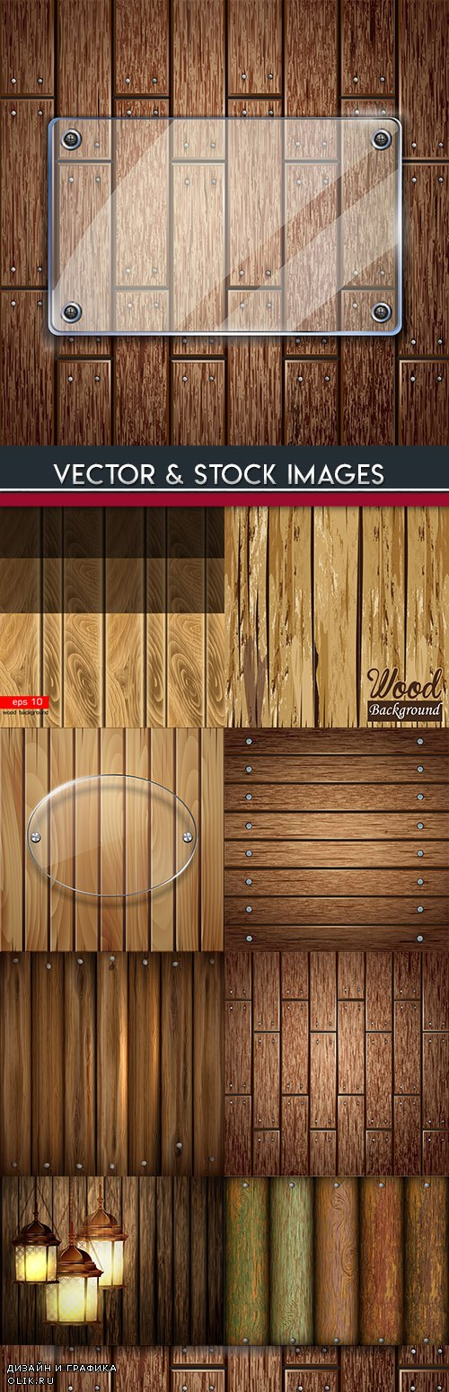 Wooden boards grunge with glass elements