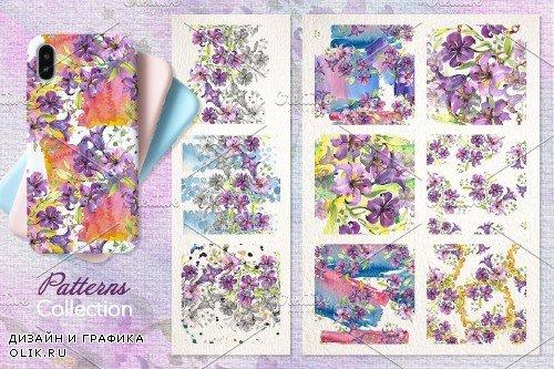 Purple Watercolor Bouquet of lilies - 3904243