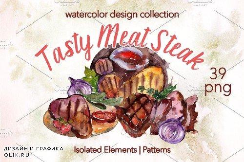 Tasty Meat Steak Watercolor png - 3904202
