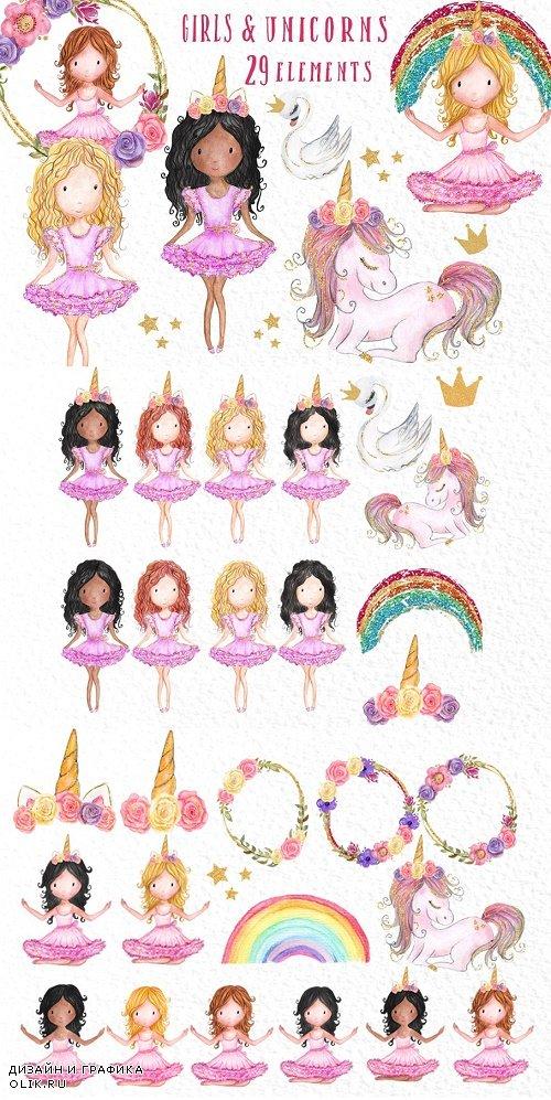Rainbow Unicorn Clipart Girls - 3908995