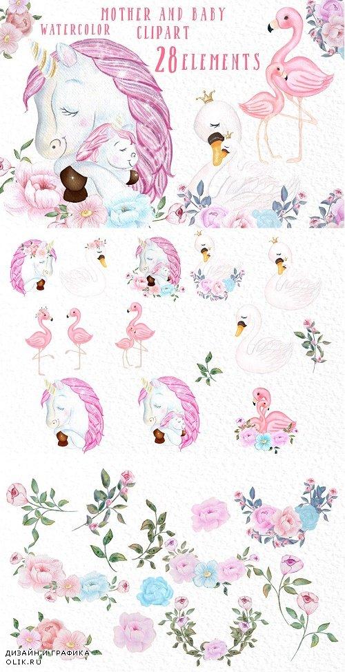 Unicorn Flamingo Mom and baby - 3909031