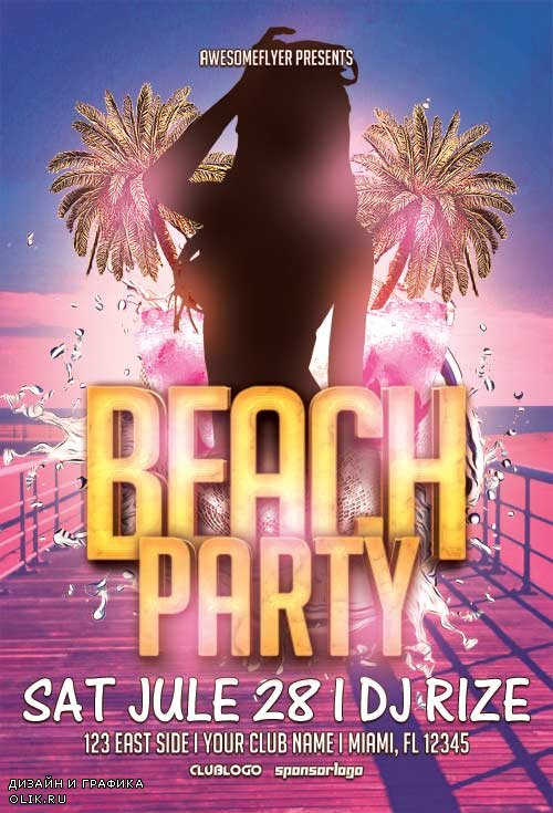 Beach party v1 psd flyer template