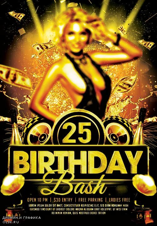 Birthday bash psd flyer template