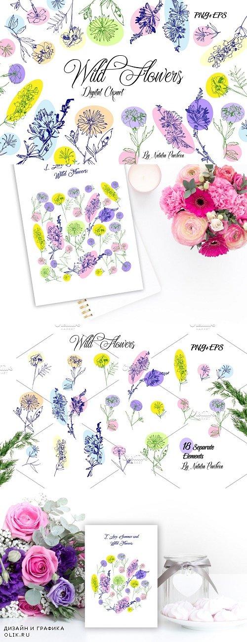 Wild Flowers Clipart - 3910200