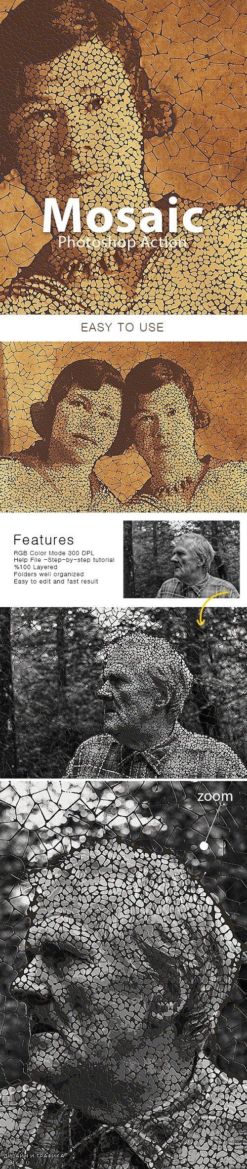 Mosaic Photoshop Action 24027255