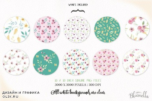 Sweet Seamless Patterns Watercolor - 2432990
