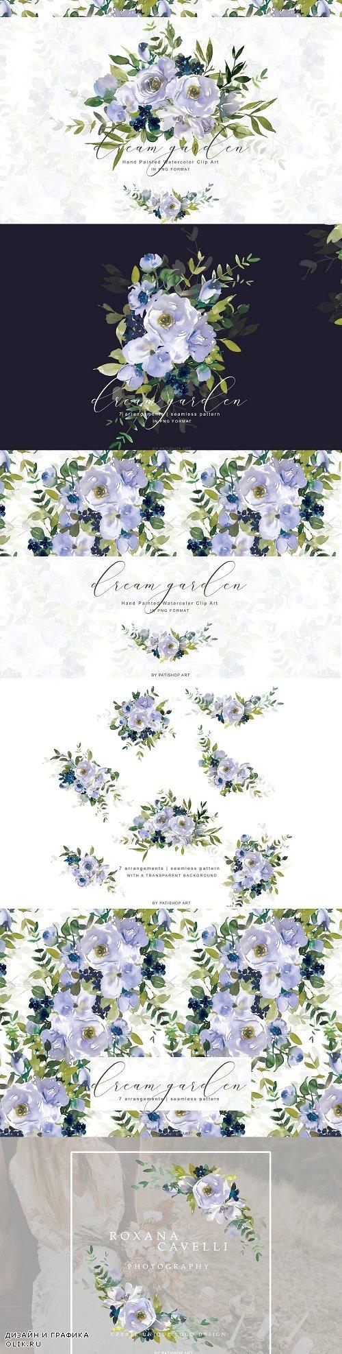 Watercolor Violet Floral Clipart Set - 3912522