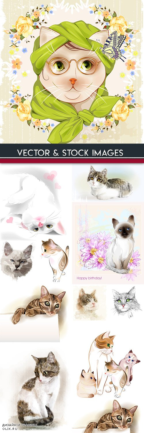 Cat with playful kittens vector drawn illustrations