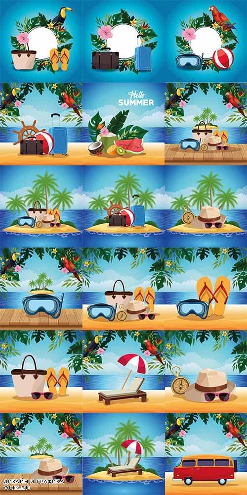 Здравствуй лето - 22 - Векторный клипарт / Hello summer - 22 - Vector Graphics