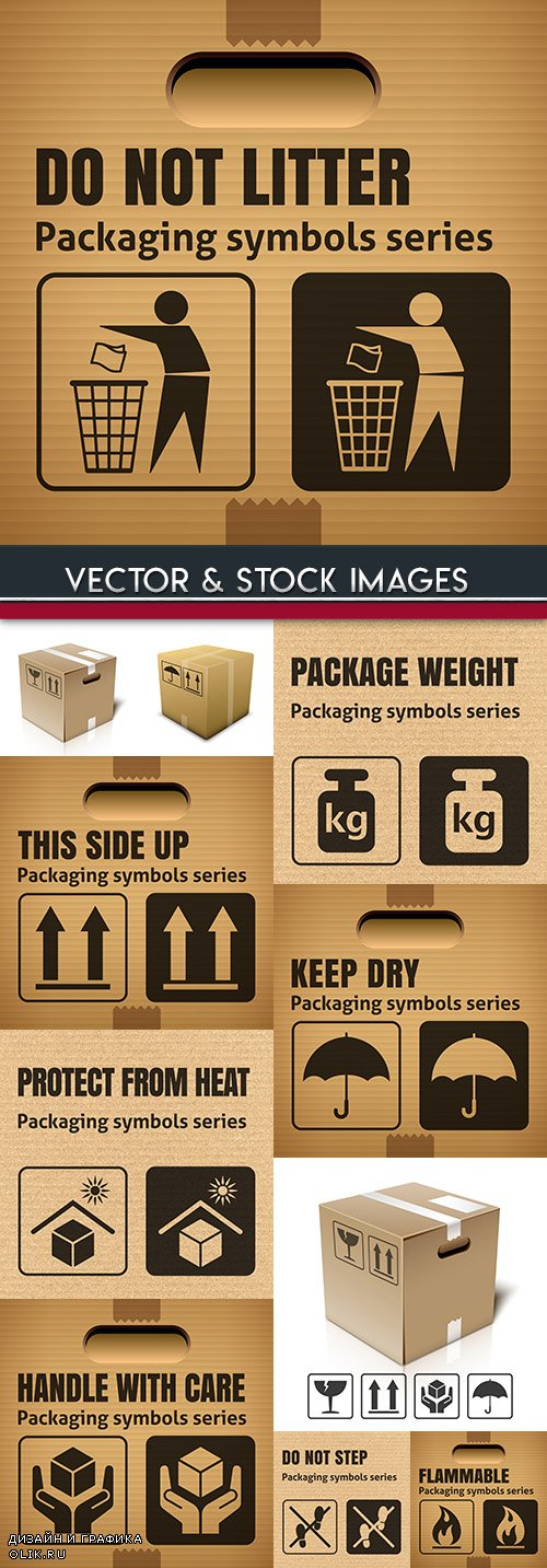 Packing symbol and marking on corrugated cardboard box