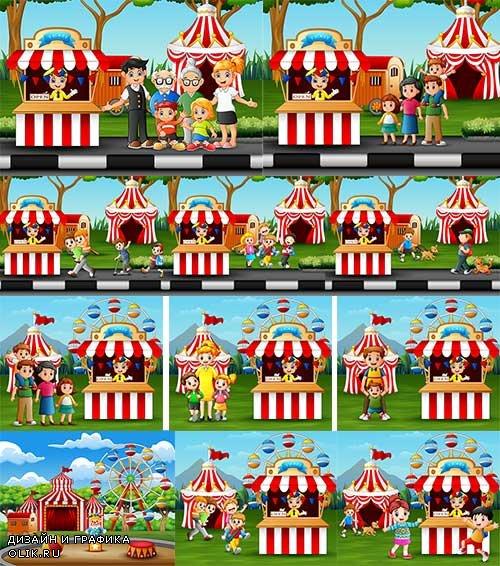 Дети в парке - Векторный клипарт / Children in the park - Vector Graphics
