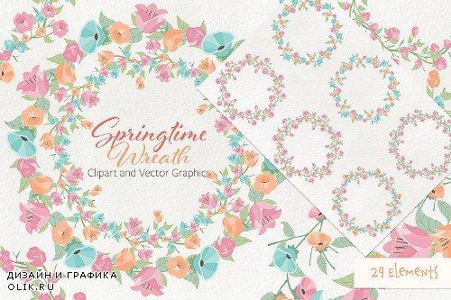 Springtime 01 Wreath Clipart Vector - 2260587