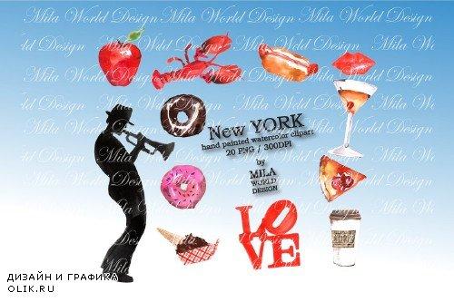 New York Watercolor Clip Art - 3915549