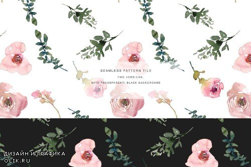 Watercolor Pink Blush Rose Clipart - 3355217
