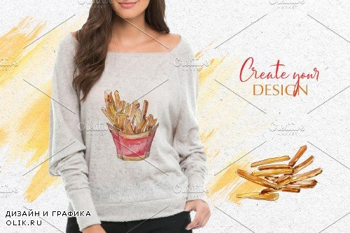 French fries Watercolor png - 3923767