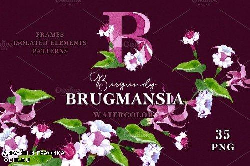 Burgundy Brugmansia Watercolor png - 3923584