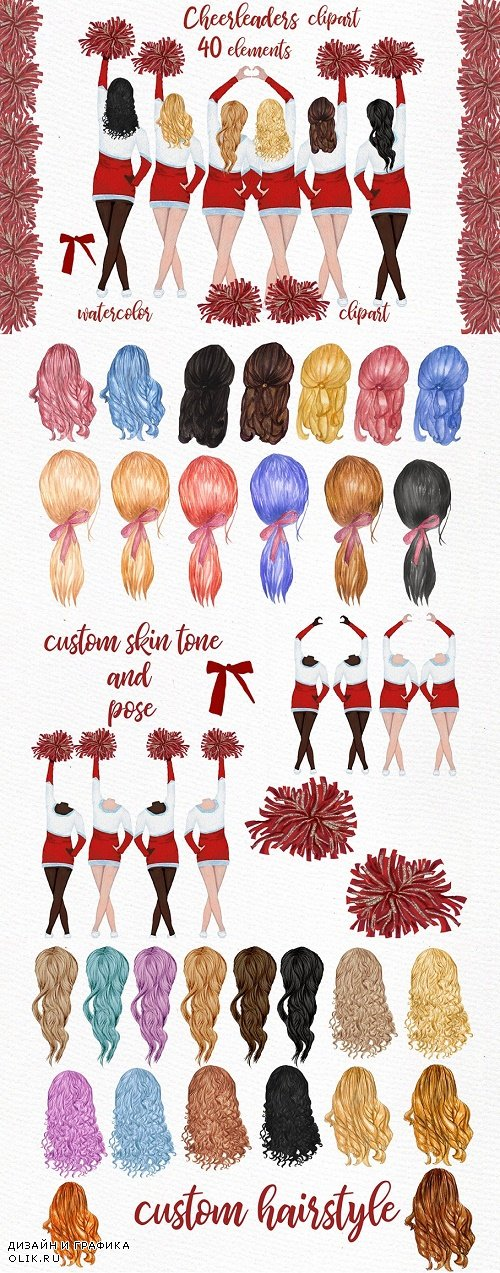 Cheerleaders Girls Clipart - 3918483