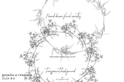 Watercolor & Hand Drawn Wreath Set - 3271546