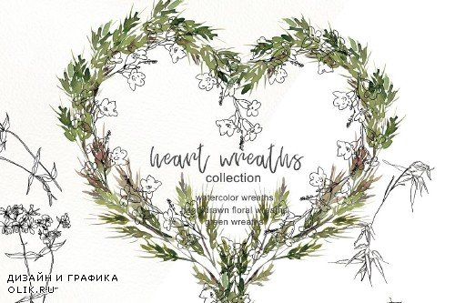 Collection of Floral Heart Wreaths - 3378610