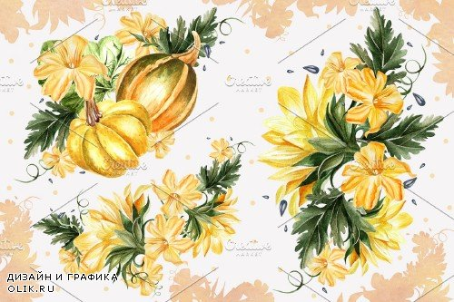 Watercolor Sunflower & Pumpkins - 3921210