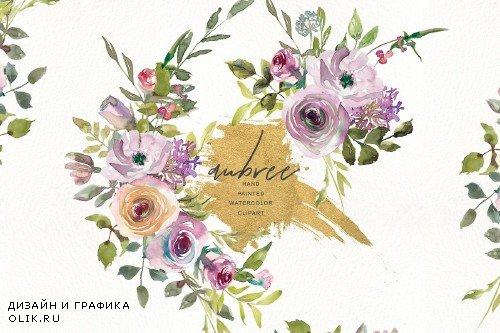 Watercolor Pink Mauve Subtle Flowers - 3162154