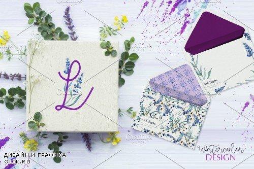 Watercolor Lavender. Violet PNG flor - 3923303
