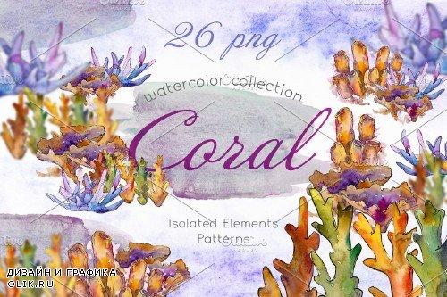 Watercolor Sea Corals PNG set - 3921448
