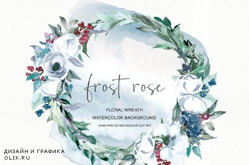 Watercolor White Rose Wreath Clipart - 3152387