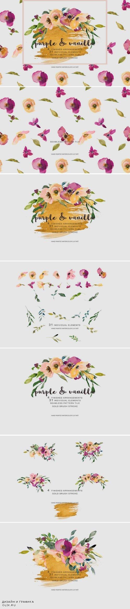 Watercolor Purple and Vanilla Flower - 2889963
