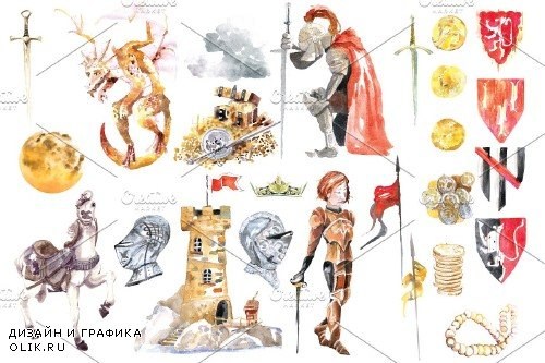 Watercolor Knight and Dragon clipart - 2652315