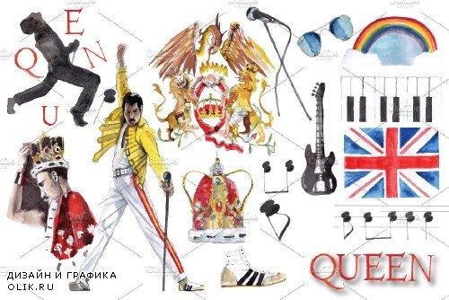 Queen Band Watercolor Clipart - 3273208