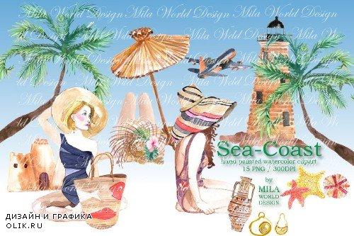 Sea-Coast Watercolor Clip Art - 3915885