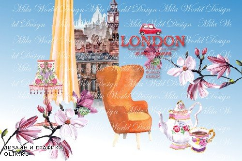 London Trip Watercolor Clip Art - 3915517