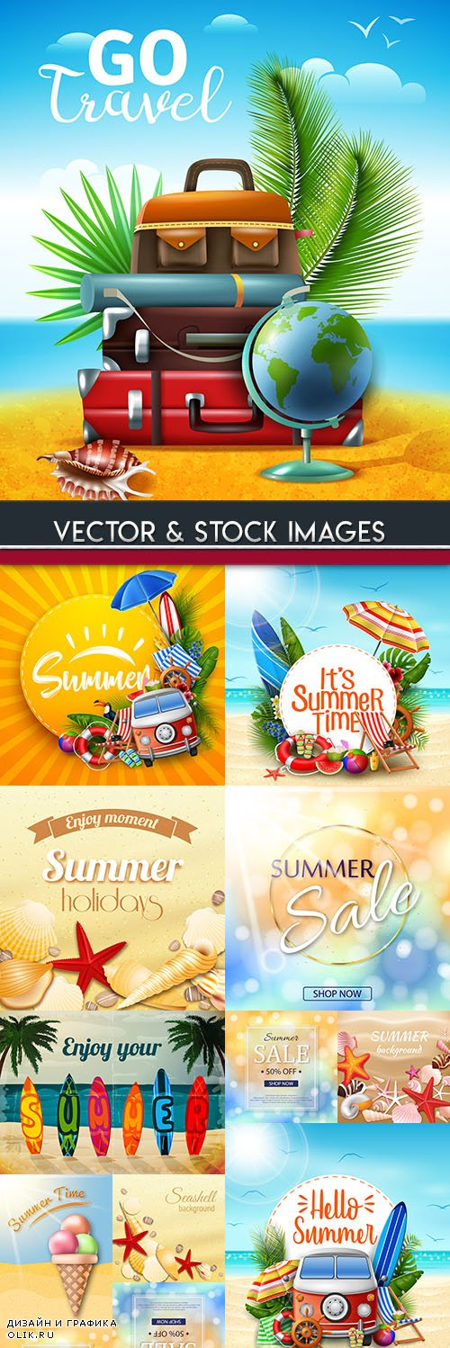 Summer sales and discount holiday banner illustrations 10