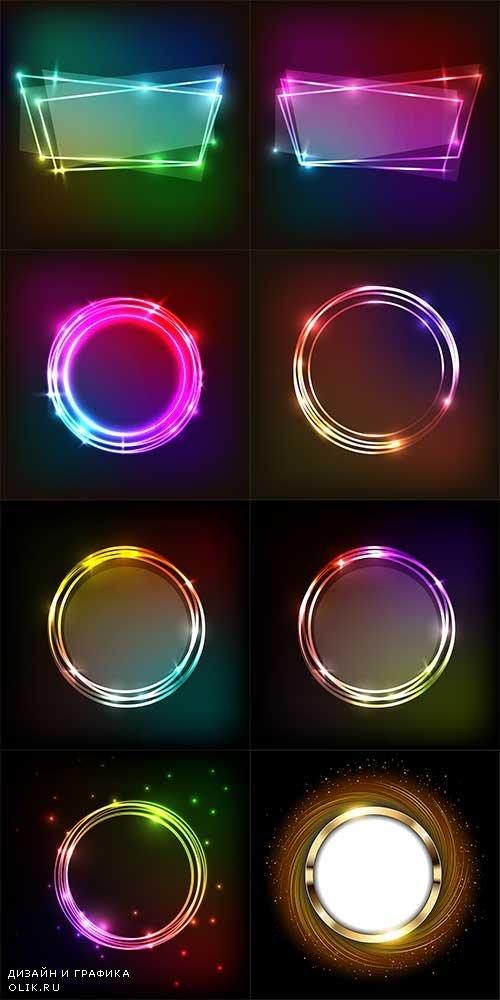 Неоновые фоны в векторе / Neon backgrounds in vector