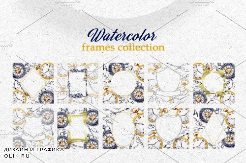 Watercolor OLD CLOCK PNG set - 3923893