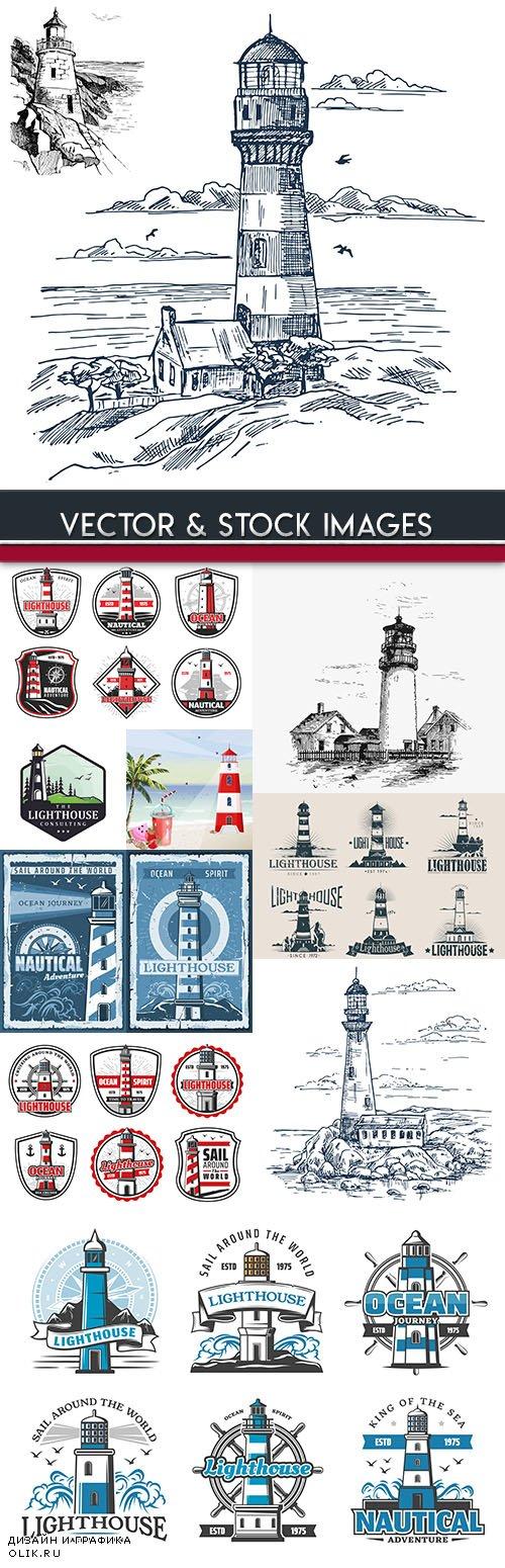 Beacon sea symbol navigation travelers design emblems