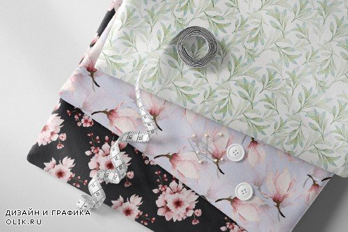 Pink Floral - Sakura Watercolor set - 3930530