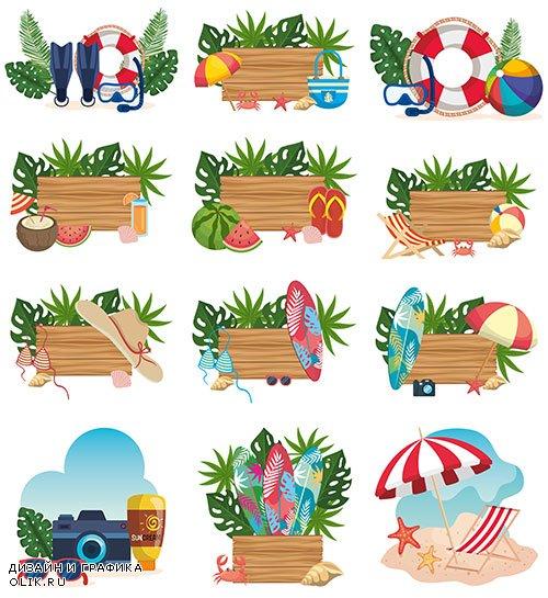 Здравствуй лето - 25 - Векторный клипарт / Hello summer - 25 - Vector Graphics