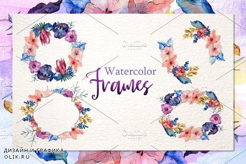 Watercolor Flower Bouquet PNG set - 3934683