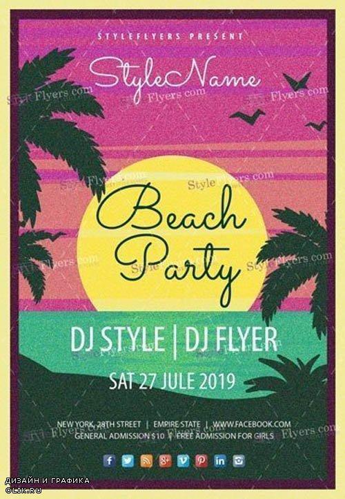 Beach Party V17 2019 PSD Flyer Template