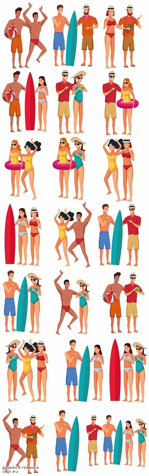 Молодые люди в купальниках - Векторный клипарт / Young people in bathing suits - Vector Graphics