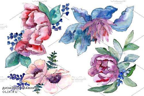 Bouquet heart joy watercolor png - 3935706