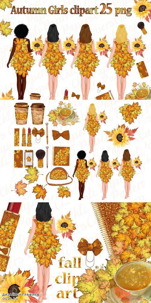 Autumn Girls Clipart, Thanksgiving - 3942577