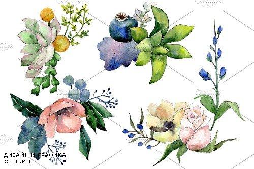 Bouquet of flowers Hugs watercolor - 3936273