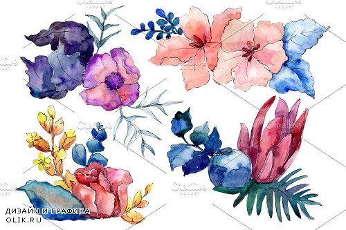 Bouquet Merlin watercolor png - 3935358