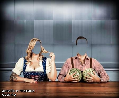 Двойной шаблон - Два арбуза