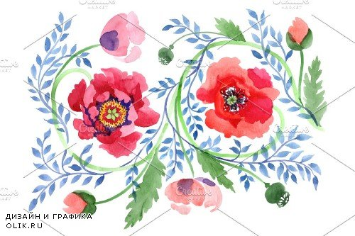 Ornament of poppies red watercolor - 3950981